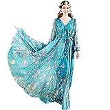Medeshe Women's Long Sleeve Floral Holiday Beach Bridesmaid Maxi Dress Sundress (Blue Birds Floral, XL/XXL)