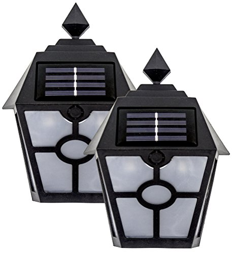 (Sogrand Solar Deck Lights Outdoor Waterproof Wall Light Bright Fence Lighting Black Garage Door Lights Dual LED Porch Lantern Dock Decorations Step Stair Lamp for Outside Decor Post Yard Path)