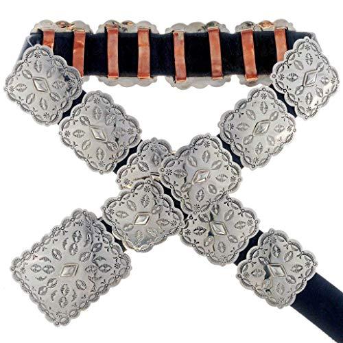 Navajo Silver Concho Belt Hammered Square Design 0003
