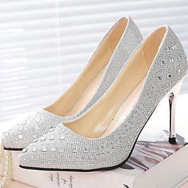 Talones de las mujeres del resorte Comfort ocasionales de la tela de tacón de aguja Rhinestone rojo gris plata Oro Caminar Gray