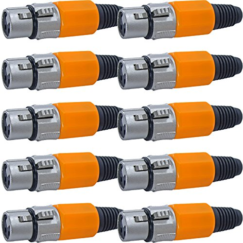 10 Pack: XLR Connector with Rubber Boot Serviceable (Orange, Female (Mcs Package)