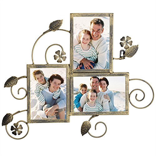 Vintage Style Metal - WOLTU Vintage Style Metal Collage Picture Frame Decorative Wall Hanging Photo Frame,3 Openings, 5x7