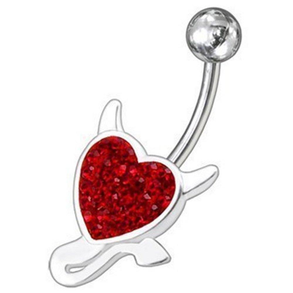 925er Silber Gem Bauchnabelpiercing Devil Heart herz Teufel Kristalle rot 316L