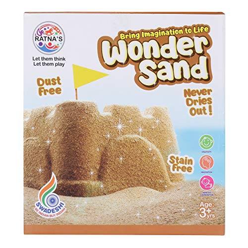 RATNA'S Wonder Sand 500 Grams for Play. Smooth Sand for Kids (Brown 500 Grams), ONE Big Mould Inside (Without Tray)