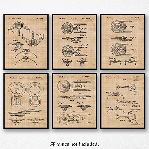 Original Star Trek Patent Art Poster Prints- Set of 6 (Six 8x10) Unframed Photos- Great Wall Art Decor Gifts Under $20 for Home, Office, Garage, Man Cave, Game Room, Student, - Trek Art Star