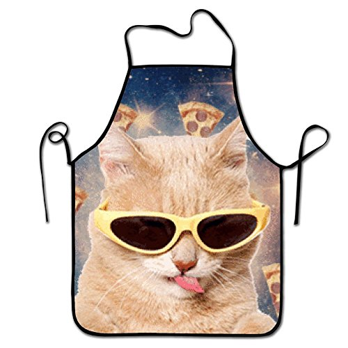 Guang trading Galaxy Space Yellow Sunglasses Spit tongue Pizza Cat Kitchen Aprons Long Tie Adjustable Bib Apron Adult's Aprons for Cooking Baking - Near Me Sunglasses Store