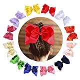12PCS 8 Inch Grosgrain Ribbon Bowtique Classical Large Hair Bows With Alligator Clips for Teens Grils Kids Children's Fine Hair