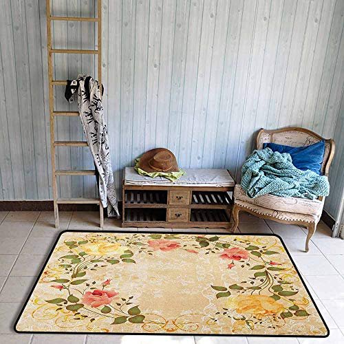 (Non-Slip Rug,Vintage Oval Shape Floral Crown with Leaves and Roses Over Damask Motif Shabby Boho,Rustic Home Decor,5'6