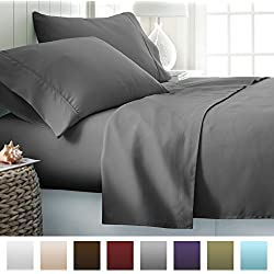 Beckham Hotel Collection 1500 Series Luxury Soft Brushed Microfiber Bed Sheet Set Deep Pocket - Queen - Slate Gray