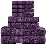 Utopia Premium Cotton Soft & Absorbent 8-Piece Bath Towel Set, Plum Deal