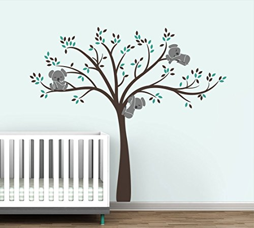 Modern Koala Cuteness Tree Wall Decal for Baby Nursery Decor - Brown Chocolate Color Collection by LittleLion Studio