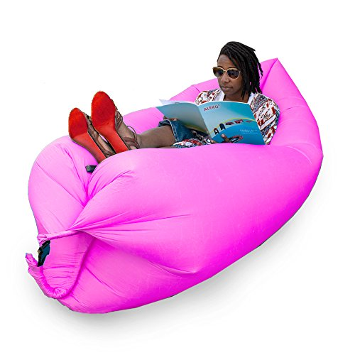 ALEKO ILS01PR Inflatable Lounger Pool Float with Carrying Bag 70x 30 Inches Purple