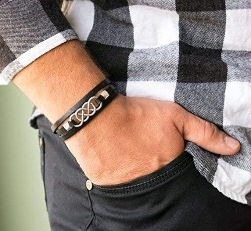 leather and silver bracelet gift for him boho bracelet Men/'s leather bracelet