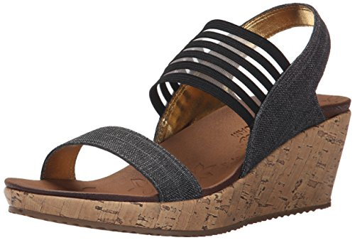 Skechers Cali Women's Beverlee-Smitten Kitten Wedge Sandal, Black, 6 M US