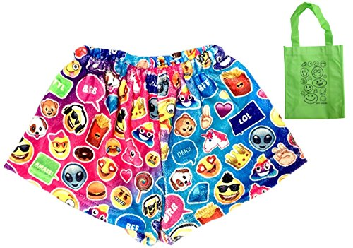 Emoji Fun Fleece Big Girls' Shorts & Tote Multi-Pack, Girls Emoji Gift (7-8) by Top Trenz (Image #1)