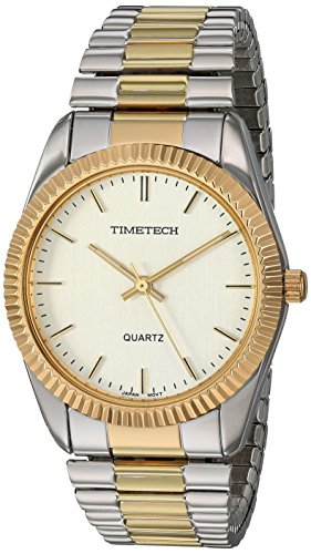 (TIMETECH Men's Watch Two Tone Expansion Stretch Bracelet with Ribbed Coin Edge Bezel)