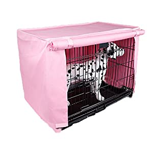 Spring Fever Multi Sizes Pet Kennel Covers Dustproof Windbreak for Dog Crates Pink S(18.111.814.5inch)