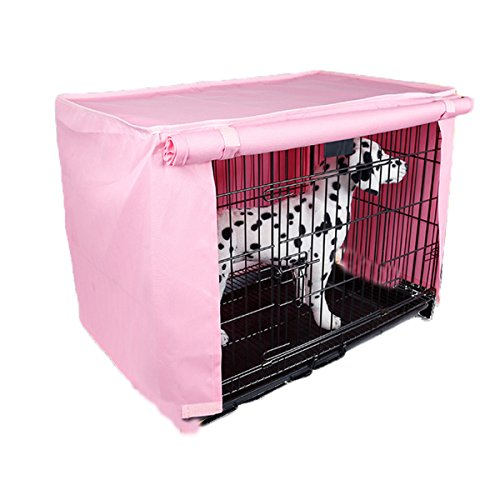 Spring fever Multi Sizes Pet Kennel Covers Dustproof Windbreak for Dog Crates Pink M(23.616.919.6inch)