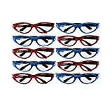 Hot Wheels Wild Racer Party Race Car Glasses Accessory, Blue and Red, Plastic , 5' x 1' x 1'', Pack of 10