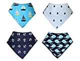 KodaBear Signature Pet Dog Bandana Scarf, 4 Pack, Triangle Bib Kerchief for Dogs, Buttons Up, Machine Washable, Soft Cotton Material (Ocean Pack)