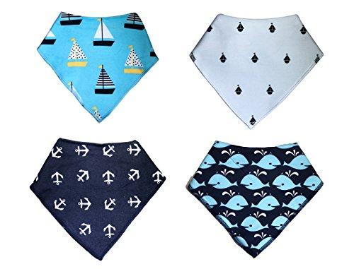 Dog Bandana - KodaBear Signature Pet Dog Bandana Scarf, 4 Pack, Triangle Bib Kerchief for Dogs, Buttons Up, Machine Washable, Soft Cotton Material (Ocean Pack)