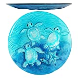 Comfy Hour 13'' Decorative Three Turtles Sea Snail Conch Starfish Pattern Glass Plate, Dishwasher Safe, Blue