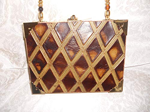 Cigarbox Purse, Embossed Italian Print Leather, Tina Marie Purse, Vintage Cigar Box