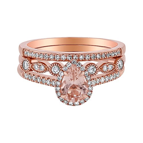 14k Rose Gold Pear Morganite and Diamond Halo 3 Ring Wedding Set (1/3 cttw, H-I Color, I1 Clarity) Size (0.15 Total Carat Weight)