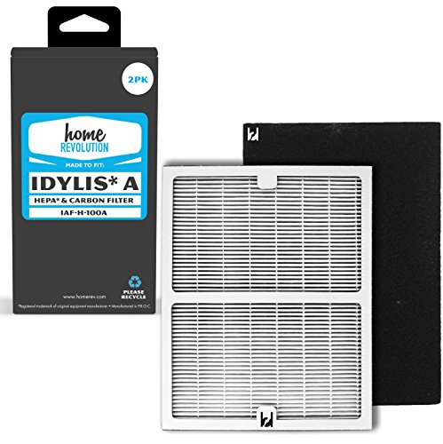Home Revolution Idylis Part # IAF-H-100A for Idylis IAP-10-100 and IAP-10-150 Models, Comparable 2 A HEPA Filter Plus 2 Carbon Filter. A Brand Quality Aftermarket Replacement 4PK