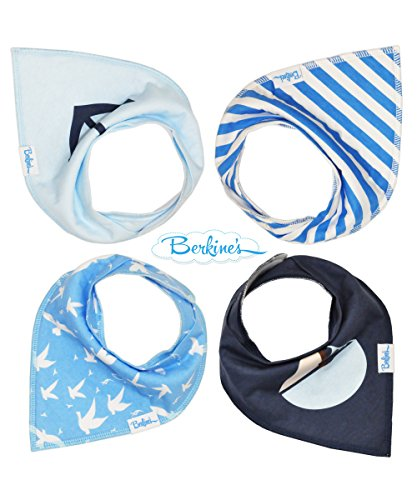 Baby Bandana Drool Bibs with Snaps for Drooling and Teething Boys and Girls Set of 4 Pack Gift Set 100% Absorbent Organic Cotton (Young Sailor) by Berkine
