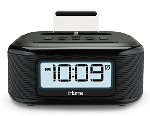 iHome iPL23 Stereo FM Clock Radio with Lightning Dock Charge/Play for iPhone 5/5S 6/6Plus 6S/6SPlus 7/7Plus - Docking Stereo Speaker System