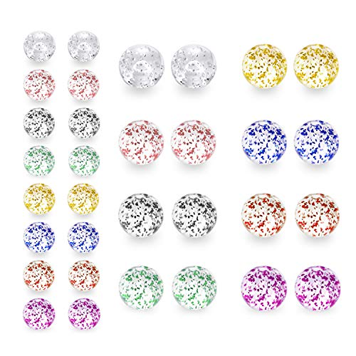D.Bella Mix Color Glitter UV Acrylic Replacement Balls Retainer Piercing Barbell Parts 14G 5mm 8mm Glitter Balls for Women Men (In 8 5 14g Barbell)
