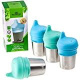 Stainless Steel Cups with Silicone Sippy Cup Lids for Kids Toddlers Babies 8oz   Stainless Steel Sippy Cups for Home and Outdoors   BPA Free Metal Drinking Glasses (4-Pack)