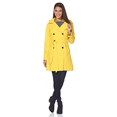 2a35108bc9066 Happy Rainy Days Women's Classic Trench Coat with Removable Hood, Yellow,  Large