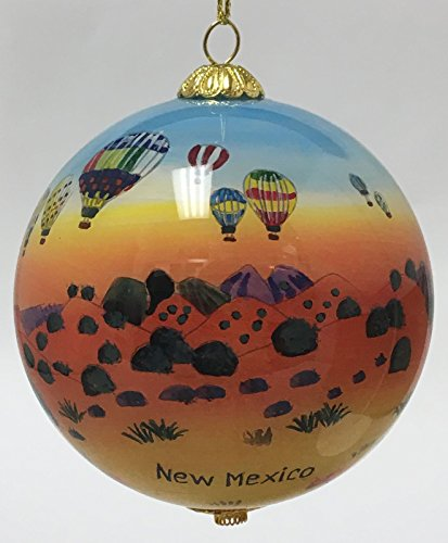 New Mexico Balloon - Home and Holiday Shops New Mexico Hot Air Balloons Reverse Painted Glass Ball Christmas Tree Ornament