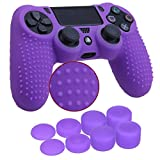 YoRHa Studded Silicone Cover Skin Case for Sony PS4/slim/Pro controller x 1(purple) With Pro thumb grips x 8