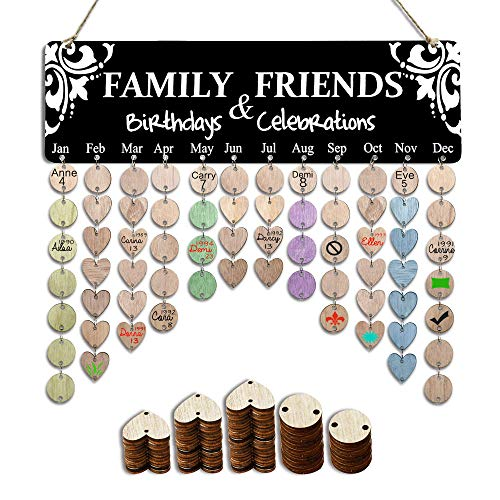 YuQi Gifts for Grandma Moms - Family Birthday Reminder Calendar Boards, Wooden DIY Friends Birthday Tracker Plaque Wall Hanging with Ornaments Tags for Home Wall Decor