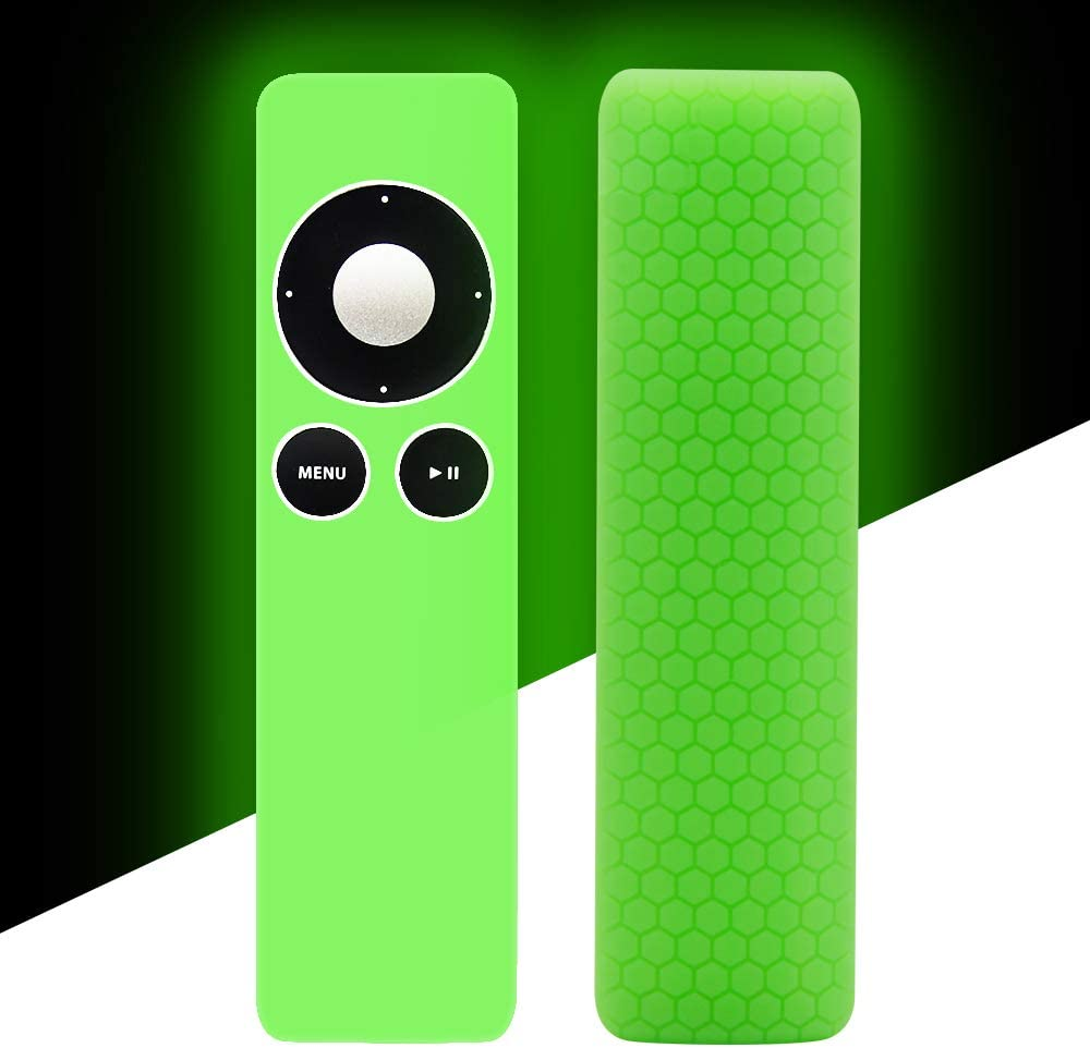 Apple TV Remote Case Cover Skin Holder Protector,Silicone Protective Case Cover Sleeve for 2 3 Remote Controller, Light Weight[Anti-Lost] Anti Slip Remote Control Skin Protector-Green Glow in the Dark