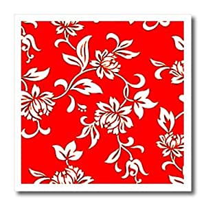 ht_1064_3 Flowers - Hibiscus Flower On Red - Iron on Heat Transfers - 10x10 Iron on Heat Transfer for White Material