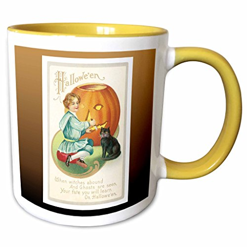3dRose BLN Vintage Halloween - Vintage Halloween Little Boy Carving a Pumpkin with a Black Cat - 15oz Two-Tone Yellow Mug -