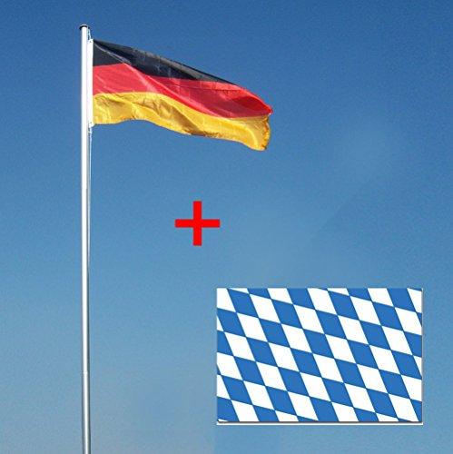 Wohnwerk! Flaggenmast 4m mit Deutschlandfahne und extra Fahne Ihrer Wahl! Fahnenmast (Bayern, 4 Meter)