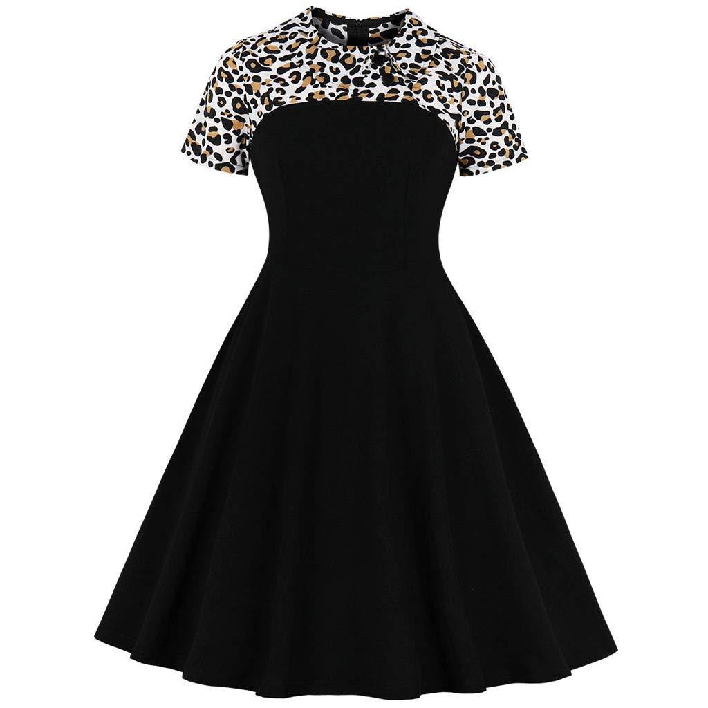 EINCcm Leopard Print Patchwork Swing Dress for Women, Turndown Collar Hidden Zipper Short Sleeve Summer Casual Dress Tea Dress(Black, XXL)