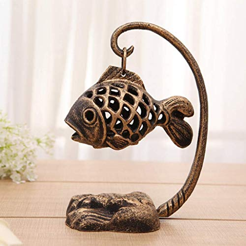 Incense burner Aromatherapy Stove Cast Iron Fish Lamp Aromatherapy Burner Personality Retro Wrought Iron Candlestick Pendant Accessories Ornaments Creative Gifts (size: 26x16cm) Household aromatherapy