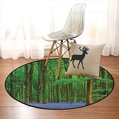 (Woodland Super Soft Round Home Carpet Spring Sunshine in a Bluebell Wood Summer Dream Holiday Getaway Destination for Sofa Living Room D59 Inch Green Lavander)