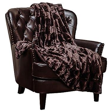Chanasya Super Soft Fuzzy Fur Elegant Faux Fur Rectangular Embossed Pattern With Fluffy Plush Sherpa Cozy Warm Dark Chocolate Microfiber Throw Blanket (50  x 65 ) - Dark Brown