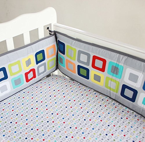 NAUGHTYBOSS Baby Bedding Set Cotton 3D Embroidery Colorful Tetris Quilt Bumper Mattress Cover Urine Bag Blankets 9 Pieces Multicolor by NAUGHTYBOSS (Image #5)