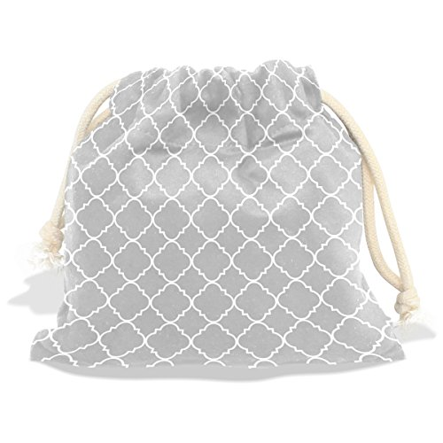 WHBAG Velvet Drawstring Gift Bag,Grey Moroccan Quatrefoil Pattern,Wrap Present Pouches Favor for Jewelry,Coin,Holiday,Birthday,Party,12x14 (Navy Stripe Favor Cards)