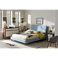 Baxton Studio Hannah King Platform Bed in Light Blue