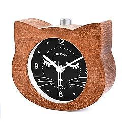 Quartz Clock-Fibisonic Cute Brown Cat Analog Alarm Clock Snooze and Night light Wake up Without Ticking Sound Clock