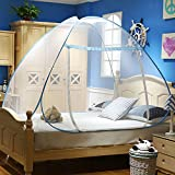 RuiHome Folding Pop-Up Mosquito Net Bed Tent Zipper Canopy for Adults Teens Kids Room Outdoor Travel (71x79x59'', Blue)